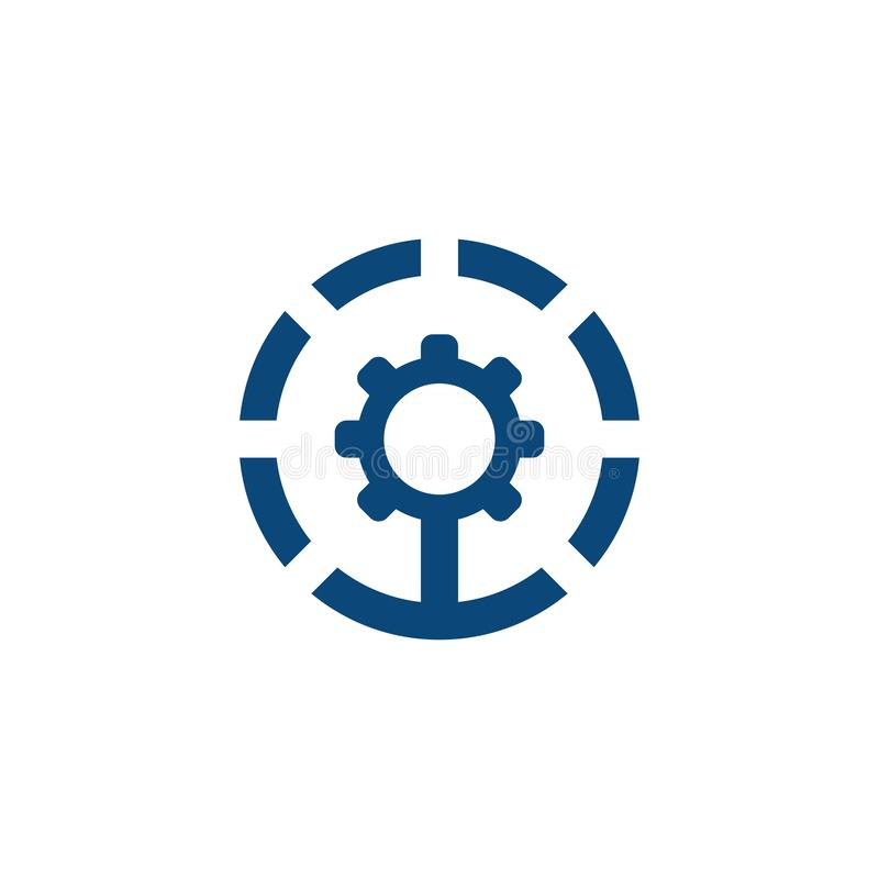 Diseño industrial del logotipo del engranaje del círculo ilustración del vector
