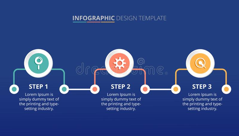 Diseño infographic de la plantilla del proceso con 3 pasos libre illustration