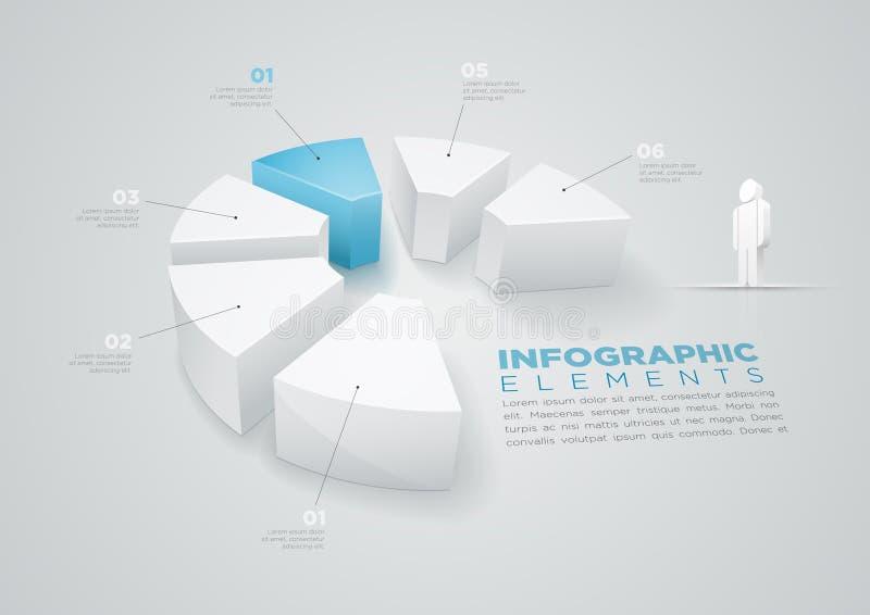Diseño infographic del gráfico de sectores stock de ilustración