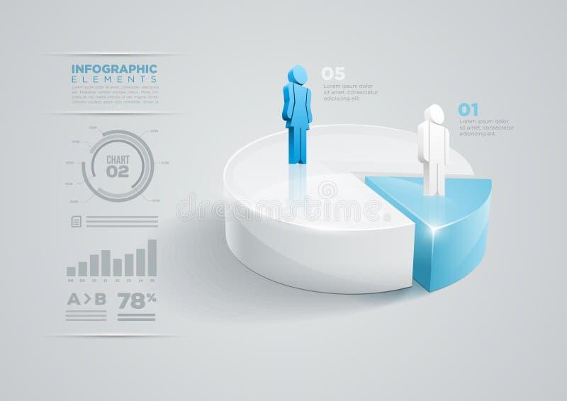 Diseño infographic del gráfico de sectores ilustración del vector