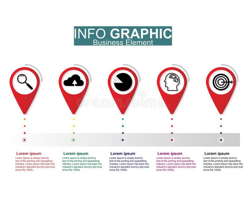 Diseño infographic del vector del ejemplo de Businees, plantillas, elemento, cronologías Disposici?n o proceso del trabajo al pre stock de ilustración