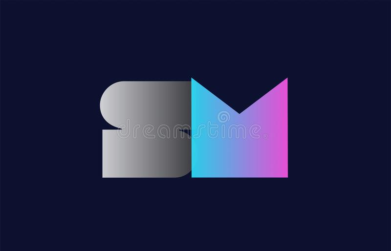 diseño inicial del icono de la compañía del logotipo de la letra SM s m del alfabeto libre illustration