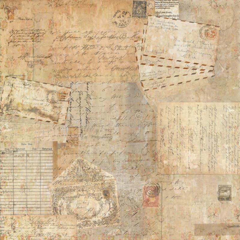 Diseño inmóvil del fondo del collage de las Ephemeras sucias del vintage stock de ilustración