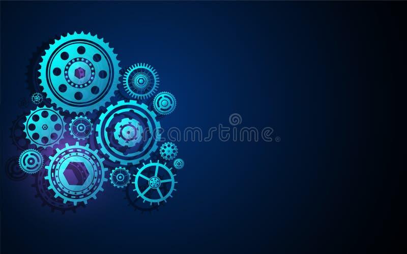 Diseño innovador del fondo del concepto de la tecnología del sistema de la máquina de la estructura del diente de la rueda de eng stock de ilustración
