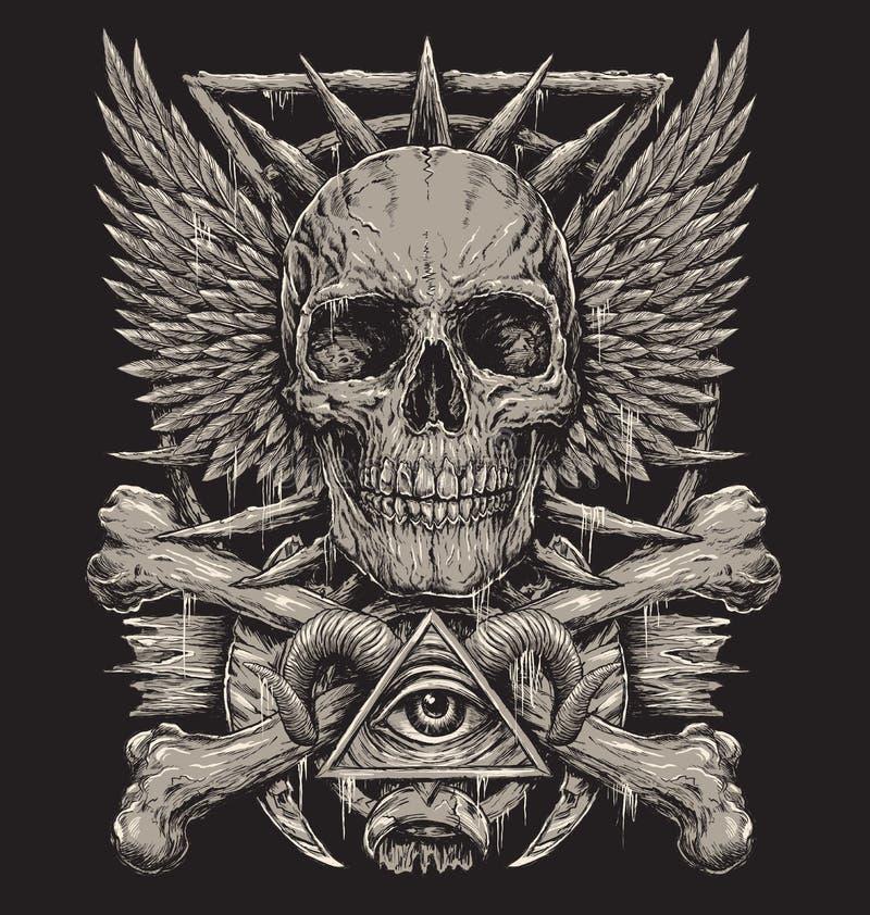 Diseño inspirado de metales pesados del cráneo libre illustration