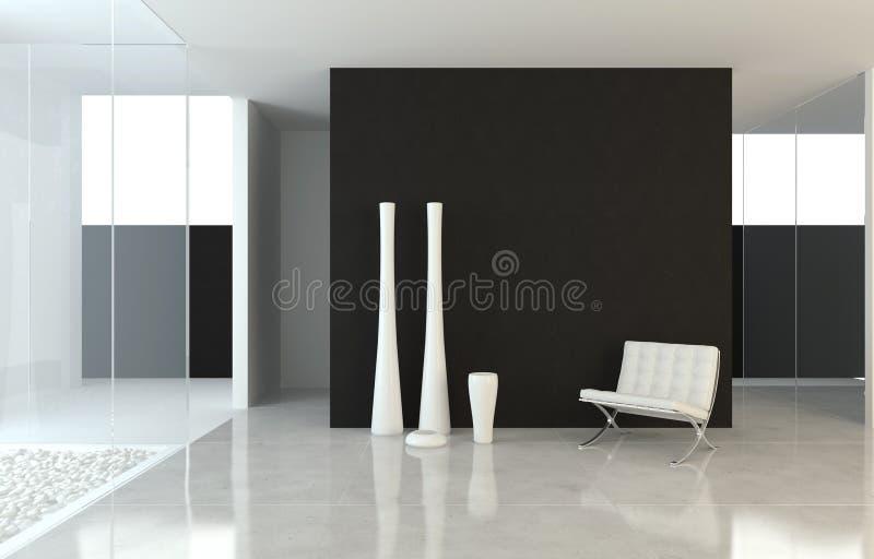 Diseño interior B&W moderno ilustración del vector