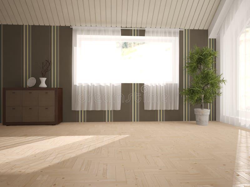 Diseño interior blanco de sala de estar stock de ilustración