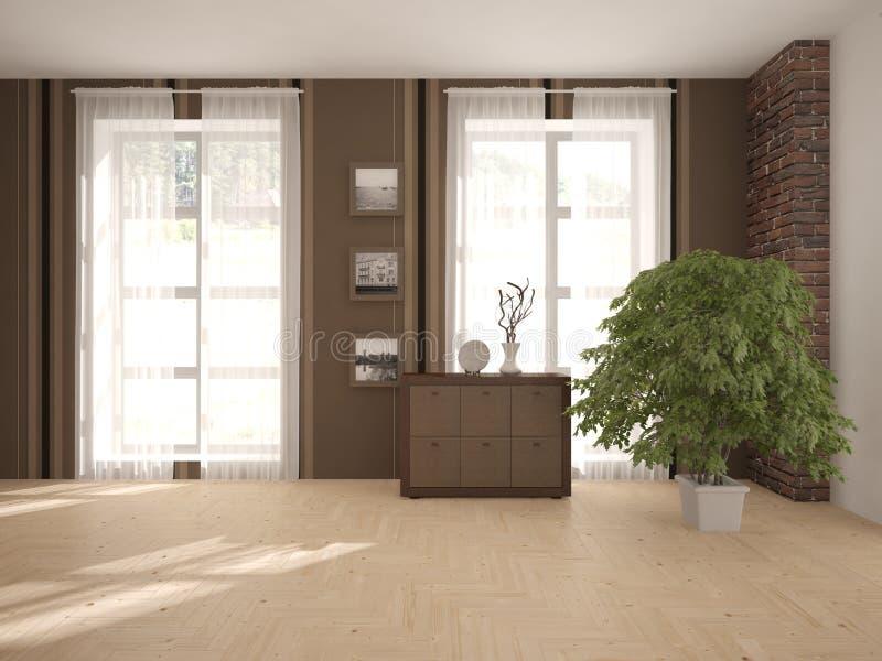 Diseño interior blanco de sala de estar ilustración del vector