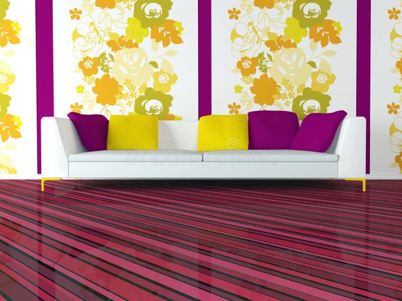 Diseño interior brillante de sala de estar rosada moderna stock de ilustración