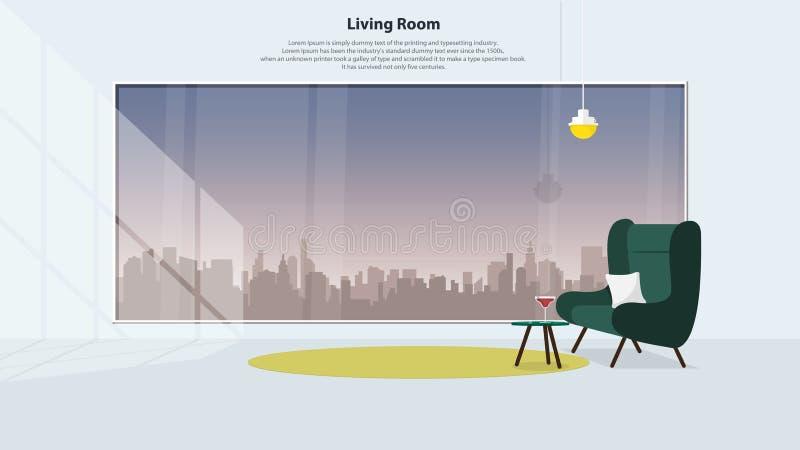 Diseño interior casero con muebles Sala de estar moderna con la butaca verde Vector libre illustration