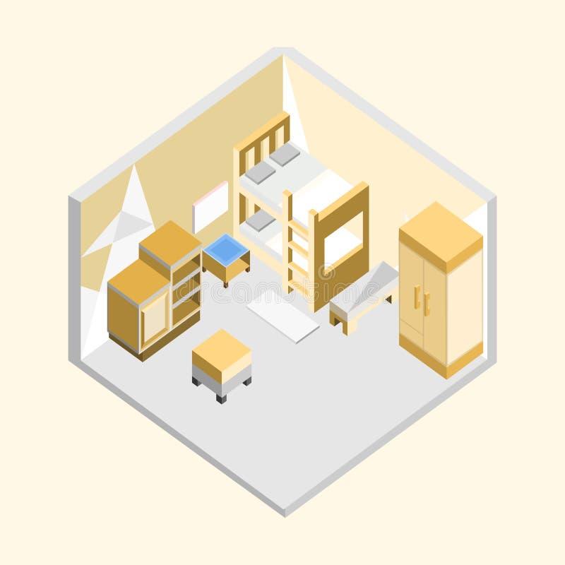 Diseño interior casero isométrico del ejemplo del dormitorio amarillo stock de ilustración