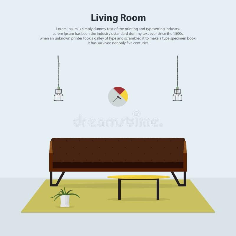 Diseño interior casero Sala de estar moderna con el sofá de cuero marrón Vector ilustración del vector