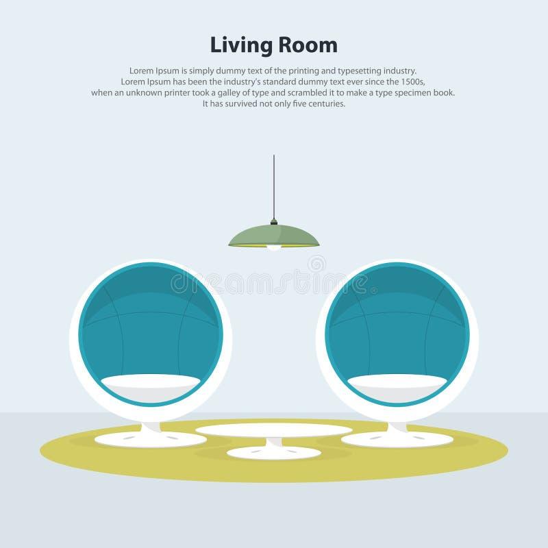 Diseño interior casero Sala de estar moderna con la silla del huevo Vector libre illustration