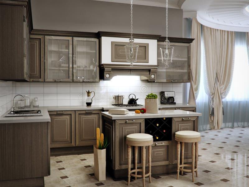 Diseño Interior Clásico De La Sala De Estar, De La Cocina Y Del ...
