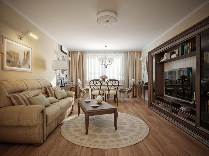 Dise o interior cl sico moderno de la sala de estar y del - Decoracion clasica moderna ...