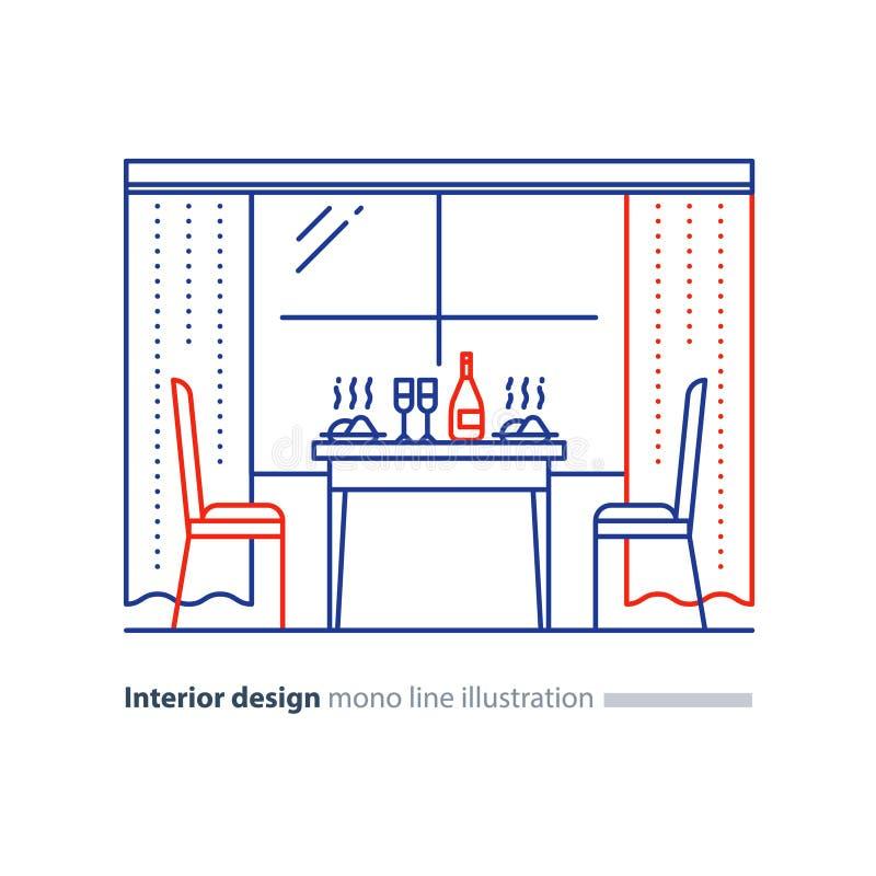 Diseño interior, comedor casero, ajuste de la tabla y dos sillas ilustración del vector
