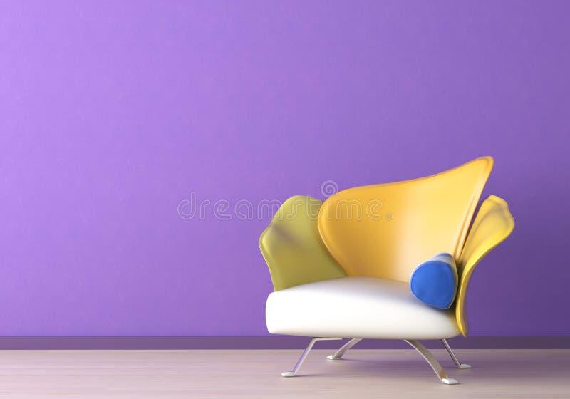 Diseño interior con la butaca encendido stock de ilustración