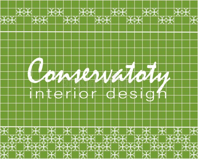 Diseño interior conservador del texto Diseño de la teja Tejas cuadradas verdes con la decoración stock de ilustración