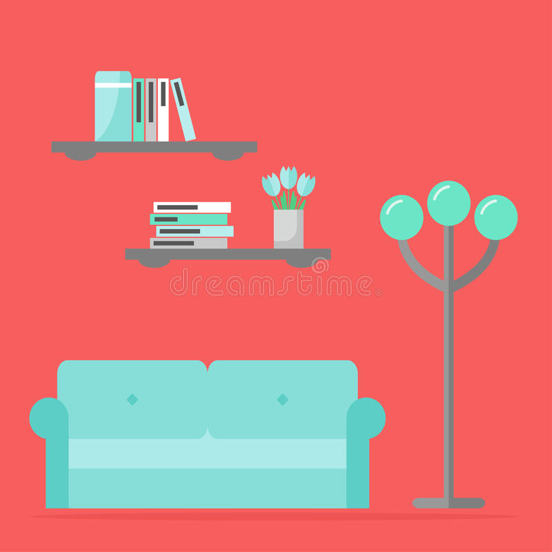 Diseño interior contemporáneo de la sala de estar ilustración del vector