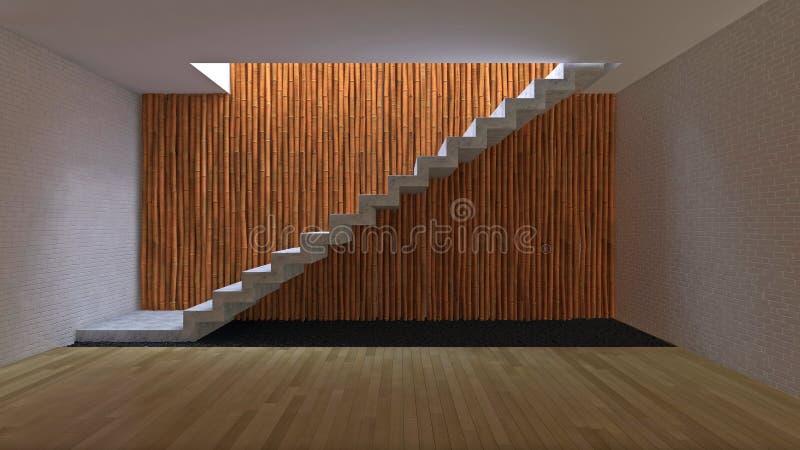 diseño interior 3d con la pared de bambú ilustración del vector