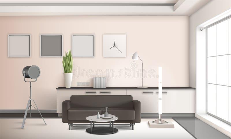 Diseño interior 3D de la sala de estar realista ilustración del vector