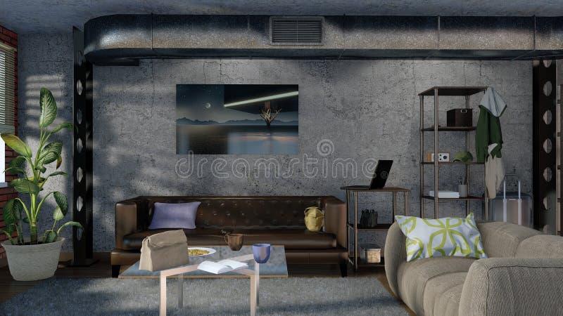 Diseño interior 3D de la sala de estar minimalista moderna fotografía de archivo