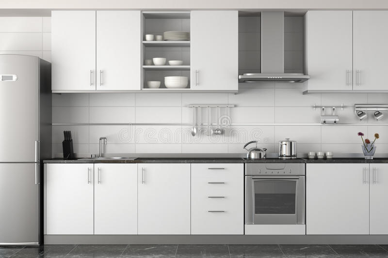 Diseño Interior De Cocina Blanca Moderna Stock de ilustración ...