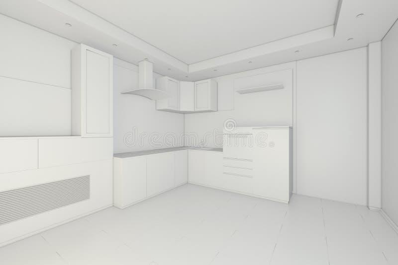 Diseño Interior De Cocina Blanca Moderna Limpia Representación 3d ...