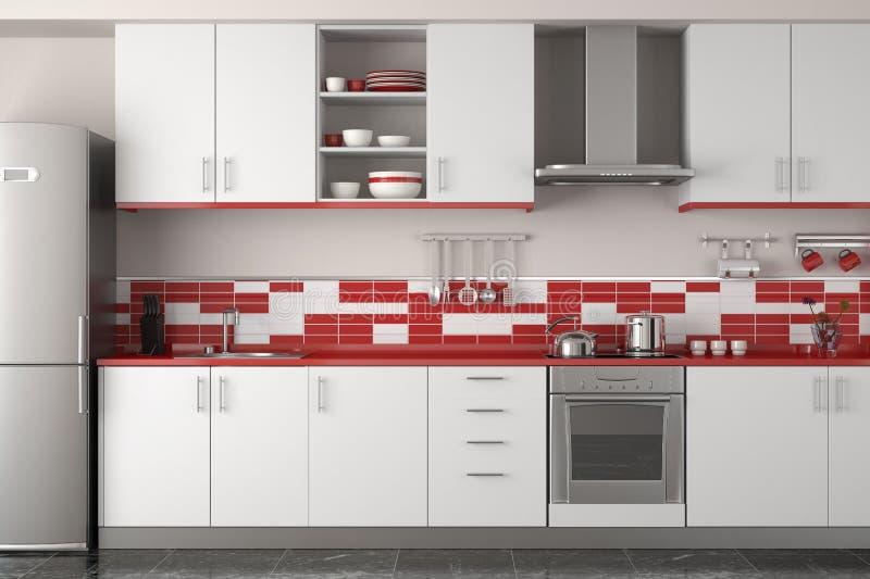Diseño interior de cocina roja moderna libre illustration
