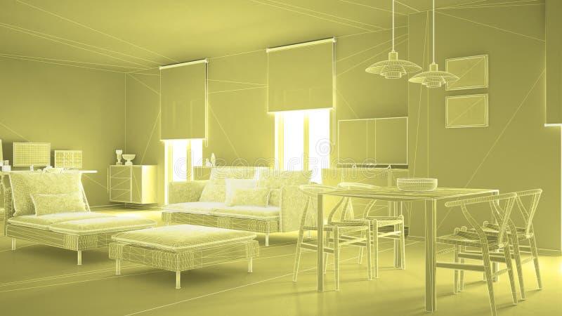 Diseño interior de la arquitectura abstracta, sala de estar moderna, del wireframe construcción de la malla highpoly, amarilla imagenes de archivo