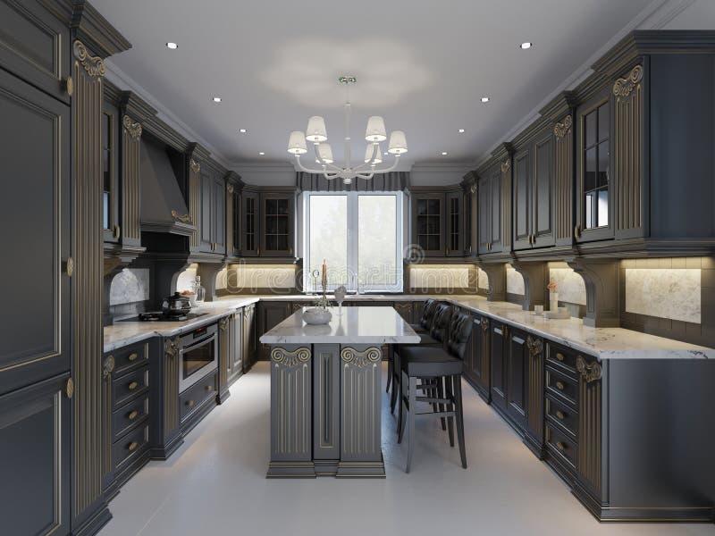 Diseño interior de la cocina clásica inglesa moderna del estilo con muebles oscuros, las fachadas tristes y la encimera de mármol stock de ilustración