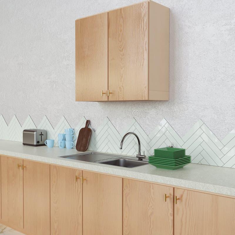 Diseño interior de la cocina con los materiales de madera fotos de archivo libres de regalías