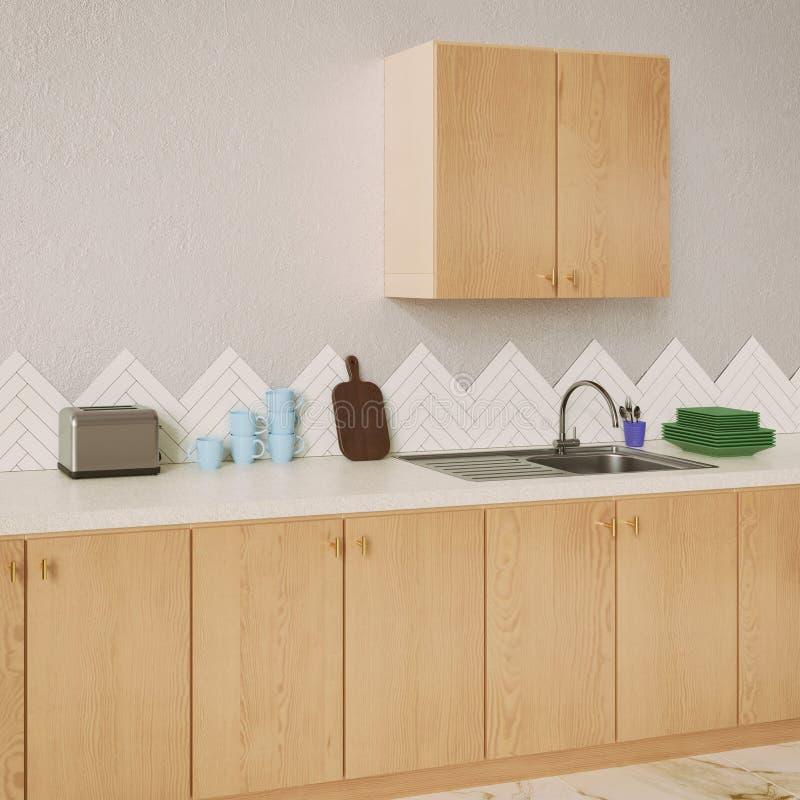 Diseño interior de la cocina con los materiales de madera imágenes de archivo libres de regalías