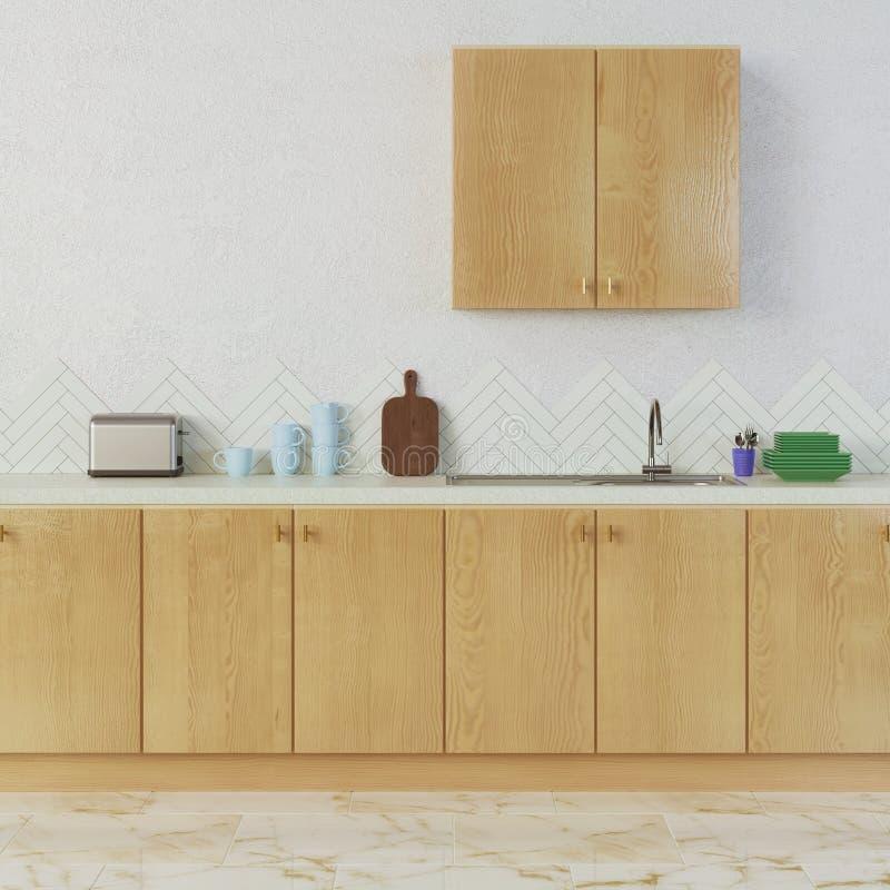 Diseño interior de la cocina con los materiales de madera imagenes de archivo