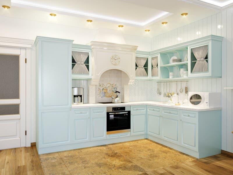 Diseño interior de la cocina en el estilo de Provence ilustración del vector
