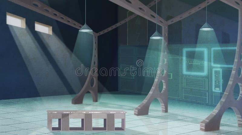 Diseño interior de la cocina espaciosa del restaurante ilustración del vector