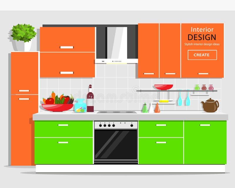 Diseño interior de la cocina gráfica moderna Cocina colorida con muebles Dispositivos planos de la cocina y de la casa del estilo libre illustration