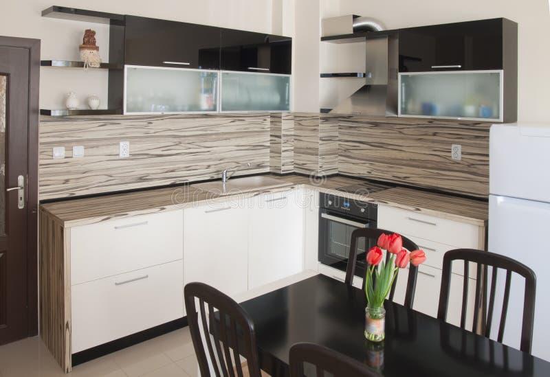 Diseño interior de la cocina moderna fotografía de archivo