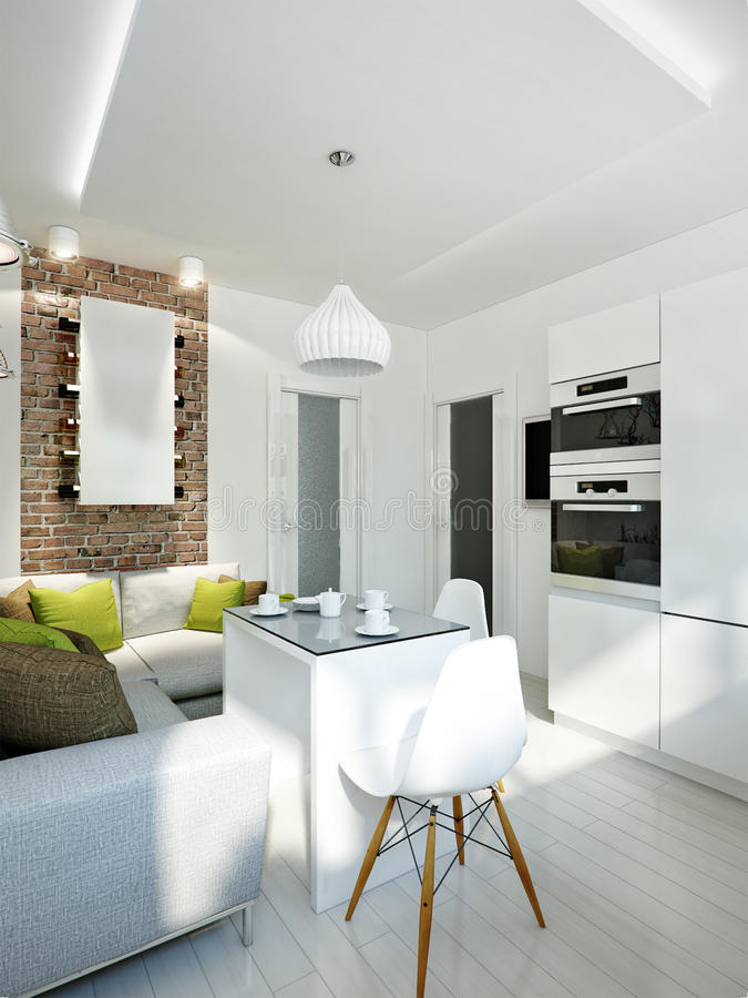 Diseño Interior De La Cocina Moderna Blanca Stock de ilustración ...