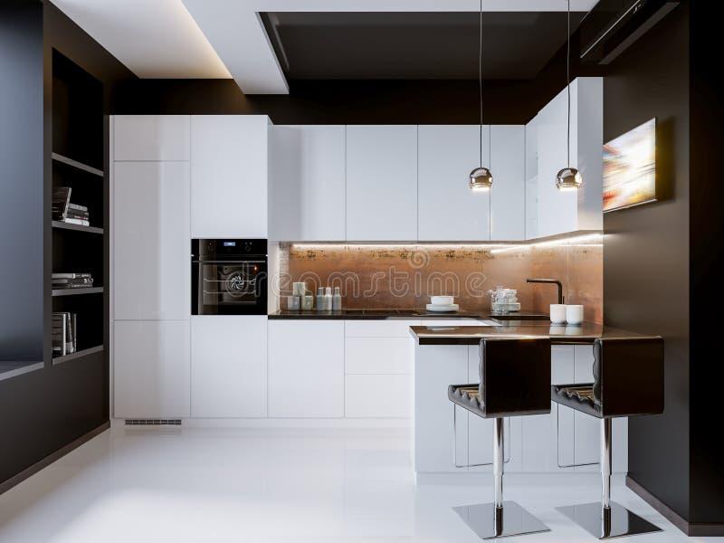 Diseño Interior De La Cocina Moderna Blanca Del Contraste Stock de ...