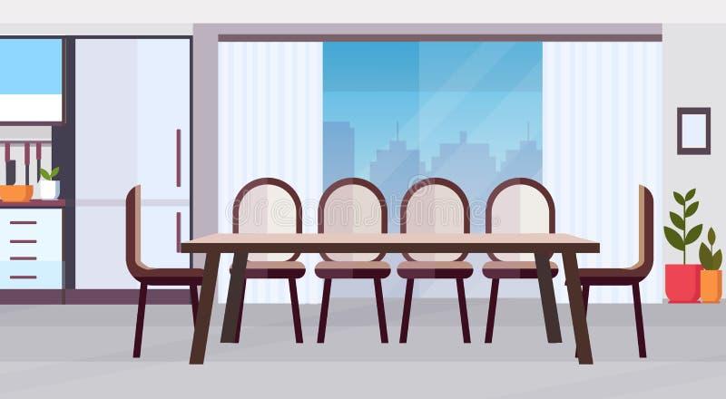 Diseño interior de la cocina moderna con la mesa de comedor redonda grande rodeada por las sillas vacías ningún plano horizontal  stock de ilustración