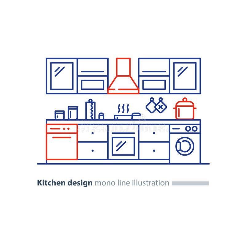 Diseño interior de la cocina, sistema de los muebles, plan del arreglo ilustración del vector