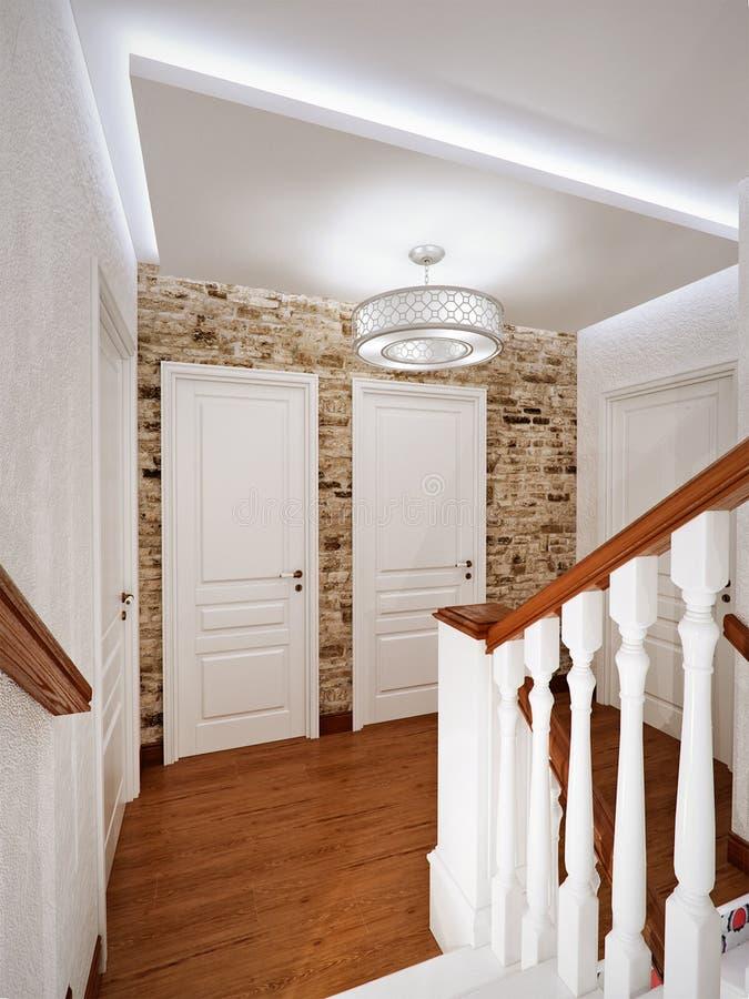 Diseño Interior De La Escalera De Madera Clásica Blanca Stock de ...