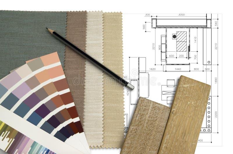 Diseño interior de la mesa de trabajo foto de archivo libre de regalías
