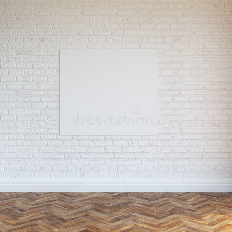 Diseño interior de la pared de ladrillo blanca con el marco en blanco fotografía de archivo libre de regalías