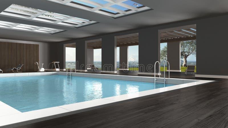 Diseño interior de la piscina, dentro con la ventana panorámica grande ilustración del vector