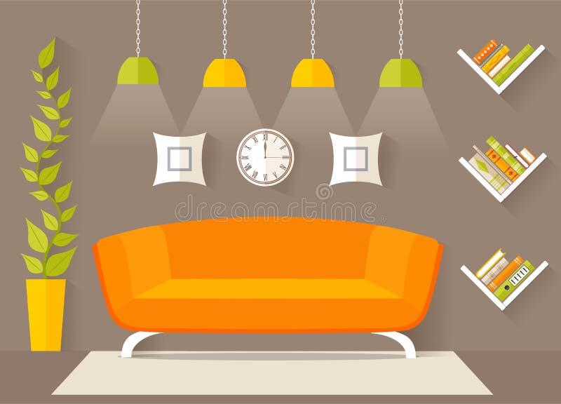 Diseño interior de la sala de estar ilustración del vector