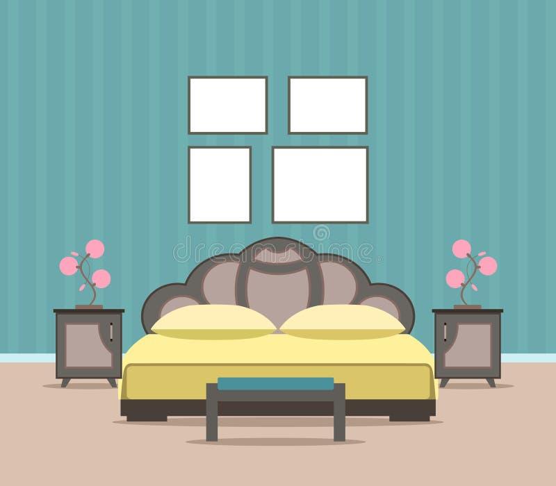 Diseño interior de la sala de estar del dormitorio en estilo plano incluyendo los muebles, cama, y marcos vacíos de la maqueta libre illustration