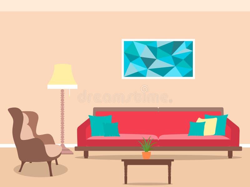 Diseño interior de la sala de estar en estilo plano incluyendo los muebles, la lámpara, el sofá, la butaca y la tabla de té ilustración del vector