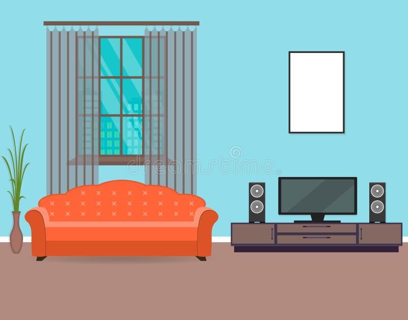 Diseño Interior De La Sala De Estar En Estilo Plano Incluyendo Marco ...